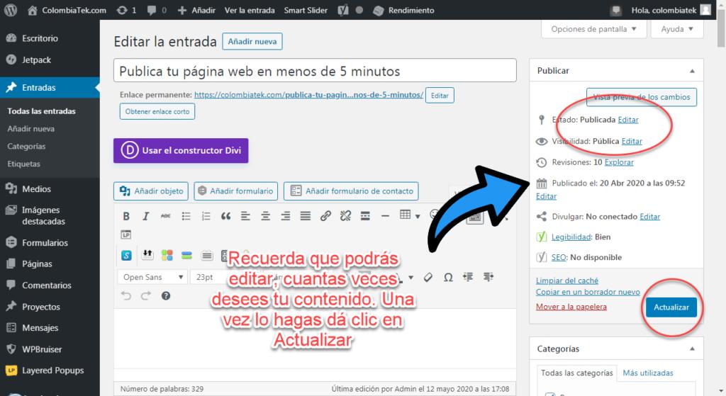 Publica tu página web en menos de 5 minutos